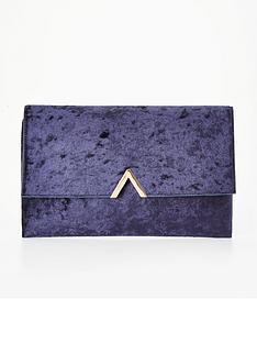 v-by-very-metal-v-bar-crushed-velvet-clutch-bag