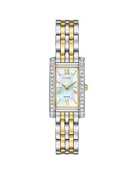citizen-citizen-eco-drive-mother-of-pearl-dial-swarovskireg-crystal-two-tone-bracelet-ladies-watch