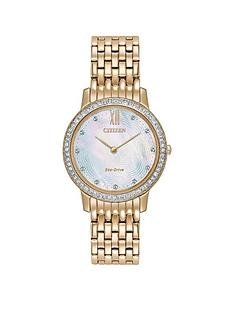 citizen-citizen-eco-drive-mother-of-pearl-dial-swarovskireg-crystal-stainless-steel-gold-tone-ladies-watch