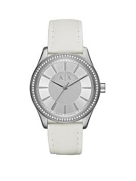 Armani Exchange Armani Exchange Silver Tone Dial Leather Strap Ladies Watch