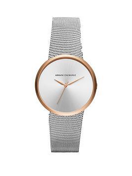 Armani Exchange Armani Exchange Silver Tone Dial Silver Tone Mesh Bracelet Ladies Watch