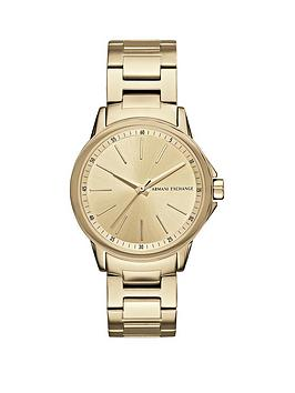 Armani Exchange Armani Exchange Gold Tone Dial Stainless Steel Bracelet Ladies Watch