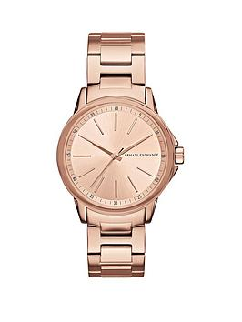 Armani Exchange Rose Tone Dial Stainless Bracelet Ladies Watch