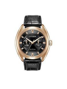 citizen-citizen-eco-drive-black-multi-dial-rose-tone-case-black-leather-strap-mens-watch