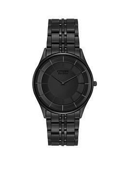 Citizen Citizen EcoDrive Stiletto Black Dial Black Ultra Slim Stainless Steel Bracelet Mens Watch