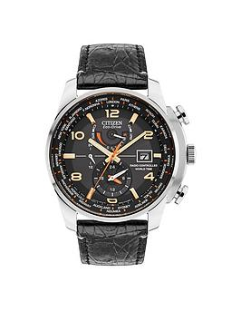 Citizen Citizen EcoDrive Radio Controlled Black Dial Black Leather Strap Limited Edition Mens Watch
