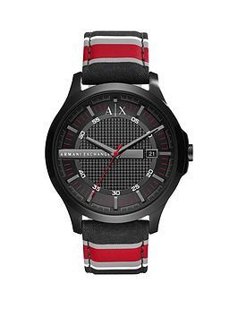 Armani Exchange Armani Exchange Black Dial Fabric Stripe Strap Mens Watch
