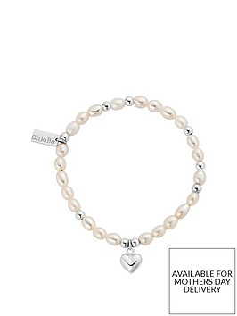 chlobo-sterling-silver-mini-pearl-heart-bracelet