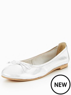 v-by-very-leah-leather-bow-detail-flat-ballerina-shoe-silver