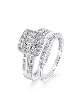 Love DIAMOND Love Diamond 9Ct White Gold 50 Point Diamond Square Set Split  ... Picture