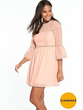 miss-selfridge-pintuck-flute-sleeve-dress-apricotnbsp