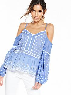 miss-selfridge-miss-selfridge-cutwork-long-sleeve-cold-shoulder-top