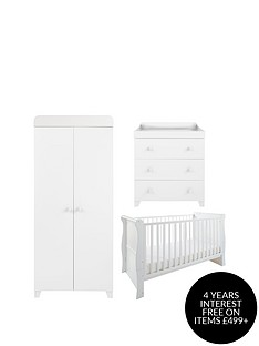 little-acorns-sleigh-cot-bed-changer-amp-wardrobe--white-buy-and-save