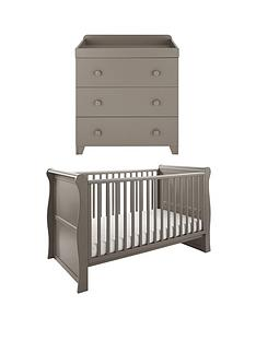 little-acorns-sleigh-cot-bed-amp-changer-set-grey