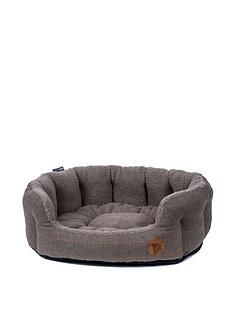 petface-brown-tweed-oval-bed
