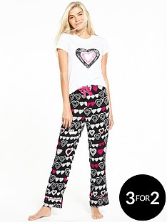 v-by-very-heart-print-woven-pyjama-set