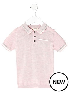 river-island-mini-pink-tipped-smart-polo-shirt