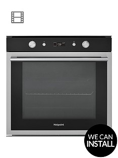 hotpoint-si6864shix-60cm-built-in-electric-single-oven-with-optional-installation-blackstainless-steel