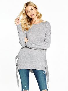 v-by-very-side-split-d-ring-fastening-tunic-jumper