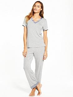 v-by-very-satin-trim-pyjama-set