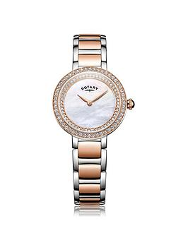 Rotary Cocktail Mother Of Peal Dial Two Tone Bracelet Ladies Watch