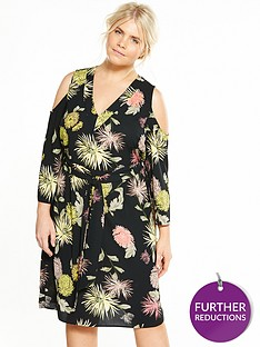 v-by-very-curve-cold-shoulder-printed-midi-dress