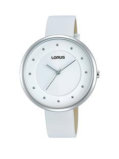 lorus-white-dial-white-leather-strap-ladies-watch