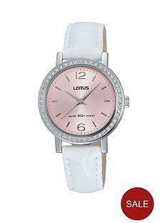 lorus-pink-dial-white-leather-strap-ladies-watch