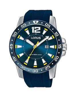 Lorus Blue Silicone Strap Mens Watch