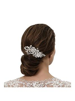 Jon Richard Crystal Flower And Pearl Hand Wrapped Hair Comb