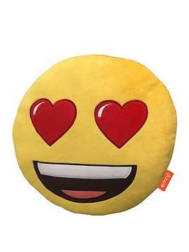 Emoji Round Heart Eyes Embroidered Plush Cushion