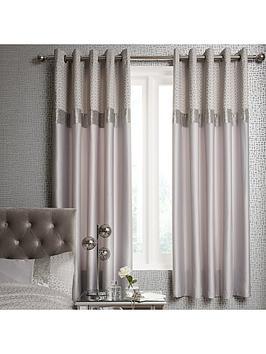 ideal-home-vienna-velvet-panel-geo-66x72-eyelet-curtains