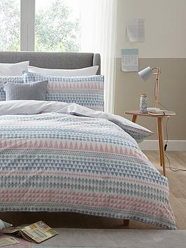 ideal-home-watercolour-aztec-stripe-cotton-rich-180-thread-count-duvet-cover-set