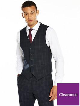 v-by-very-slim-check-waistcoat-navy