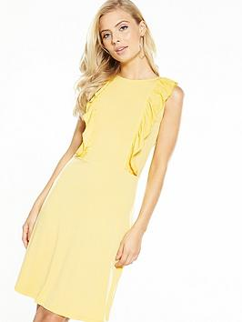V By Very Ruffle Front Short Dress  Yellow