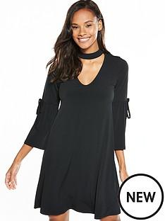 v-by-very-choker-tie-sleeve-short-dress-black