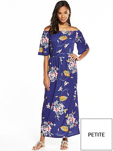 v-by-very-petite-bandeau-fluted-sleeve-maxi-dress