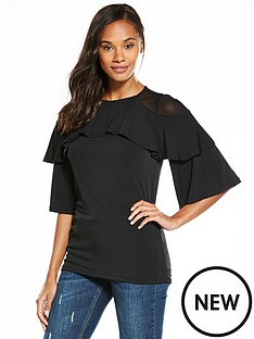 v-by-very-double-frill-layer-top-black