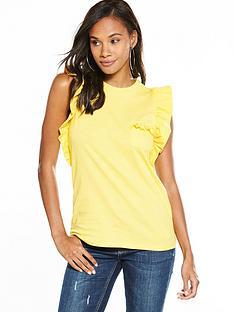 v-by-very-ruffle-sleeve-cotton-t-shirt-lemon