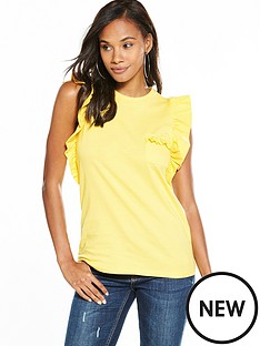 v-by-very-ruffle-sleeve-cotton-t-shirt-lemon