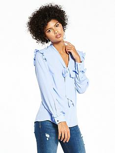 v-by-very-ruffle-shoulder-tie-neck-blouse