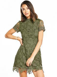 ax-paris-lace-mini-dress-khaki