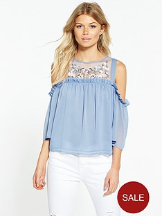 miss-selfridge-petite-embroidered-cold-shoulder-blouse