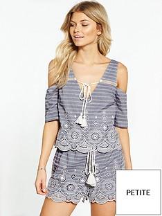 miss-selfridge-petite-embroiderednbspstripe-cold-shoulder-top