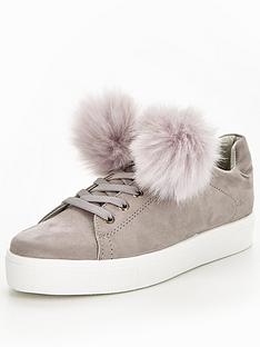 v-by-very-fluffy-pom-pom-lace-up-trainer-grey