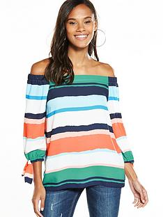 wallis-painted-stripe-bardot-top