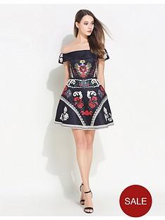 comino-couture-black-bardot-dress-with-embellishment