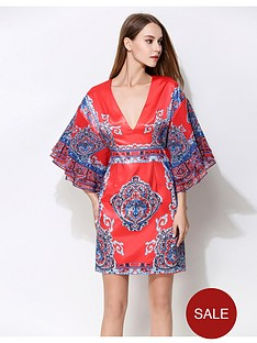 comino-couture-red-and-blue-printed-kimono-dress-with-plunge-front