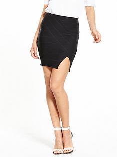 miss-selfridge-split-front-bandage-skirt