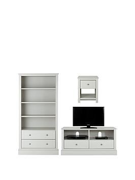 Consort Dover Ready Assembled 3 Piece Living Room Set  Storage Bookcase Tv Unit And Lamp Table  Grey (Buy And Save!)